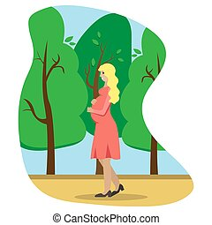 Vector illustration of the pregnant woman in a profile.