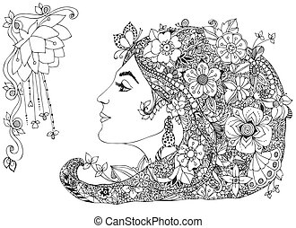 Vector illustration of the profile girl with flowers in her hair, zentangl, doodle, zenart. Beauty, fashion, lily, flowers, butterfly, snail, earring. Adult coloring books.