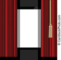 vector illustration of the red curtains to theater stage