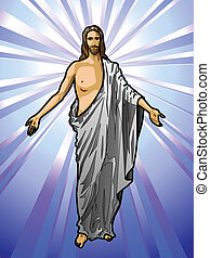 Vector illustration of the Resurrected Jesus Christ