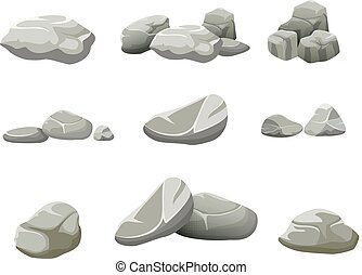 The rocks on a white background