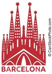 Barcelona - Vector illustration of the Sagrada familia...