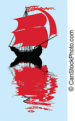 vector illustration of the sailfish with red sail