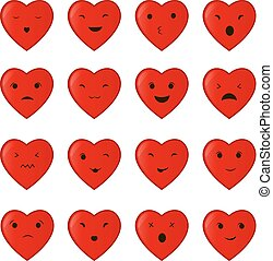 Vector illustration of the set collection of cartoon heart different emotions isolated on white background