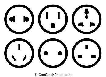 Set of different plugs