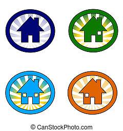set of four house icon