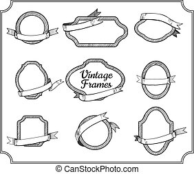 set of the vintage frames with ribbons