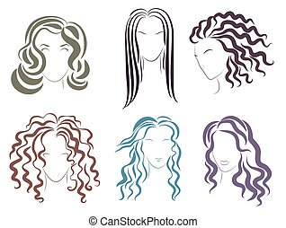 Vector Illustration of the several options styles for women hair silhouettes.