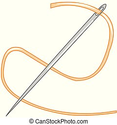 Vector illustration of the sewing needle and threads