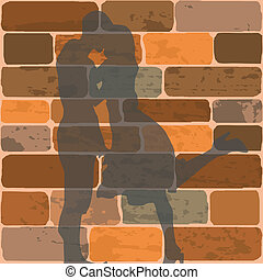 Vector illustration of the shadow of teenagers kissing on a brick wall