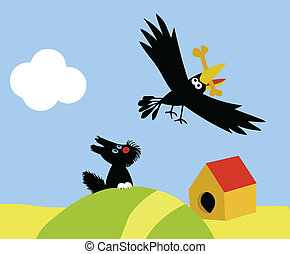 vector illustration of the small dog and crow