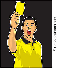 Soccer referee giving yellow card - Vector illustration of...