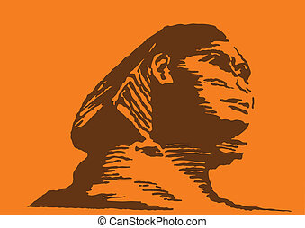 vector illustration of the sphinx on orange background
