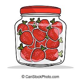 strawberries in a jar