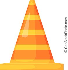 Vector illustration of the striped traffic cone. Cartoon style traffic cone on a white background. Isolated on white background. Road sign.