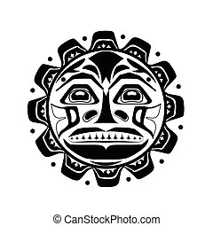 Vector illustration of the sun symbol. Modern stylization of...