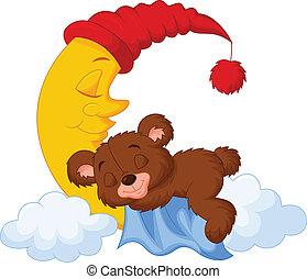 Vector illustration of The teddy bear cartoon sleep on the moon