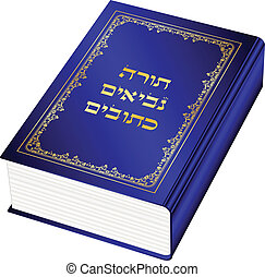 Vector illustration of the Torah book (Torah-Hebrew)