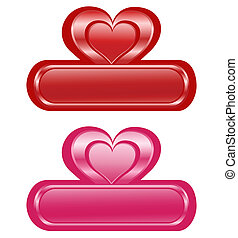 Valentine glossy banners with Heart
