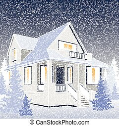 Vector illustration of the winter house