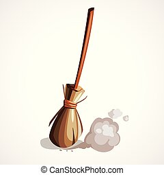 Vector illustration of the witches wooden broom