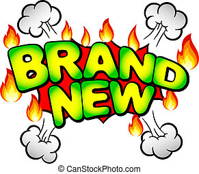 brand new - vector illustration of the words brand new in ...