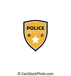 Vector illustration of the yellow police label or badge with star.
