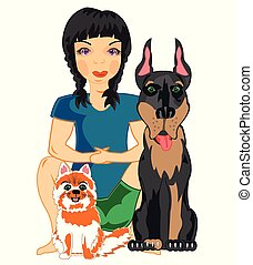 Vector illustration of the young girl with pets cat and dog