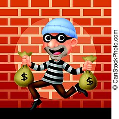Thief carrying bag of money