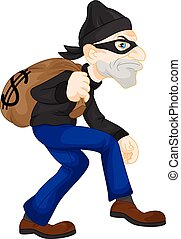 vector illustration of Thief carrying bag of money with a dollar sign