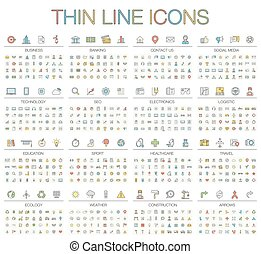Vector illustration of thin line color icons