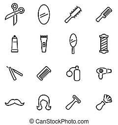 Vector illustration of thin line icons - barber