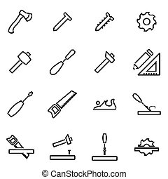 Vector illustration of thin line icons - carpentry