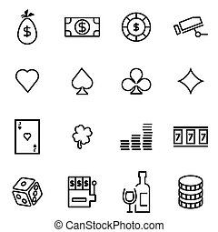 Vector illustration of thin line icons - casino