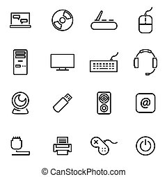 Vector illustration of thin line icons - computer