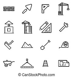 Vector illustration of thin line icons - construction