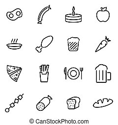 Vector illustration of thin line icons - food