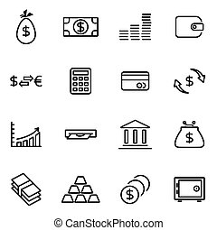 Vector illustration of thin line icons - money