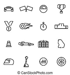 Vector illustration of thin line icons - racing