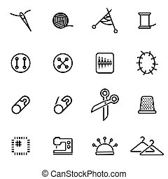 Vector illustration of thin line icons - sewing