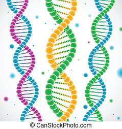 Vector illustration of three colorful DNA strands