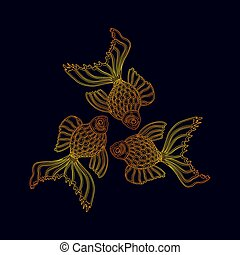 Vector illustration of three golden goldfishes floating in a...
