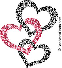 three intertwined hearts - Vector illustration of three...