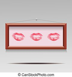 vector illustration of three lipstic kisses in wooden frame