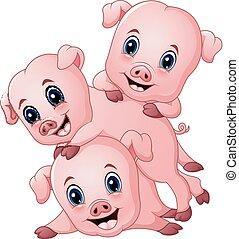 Three little pig cartoon