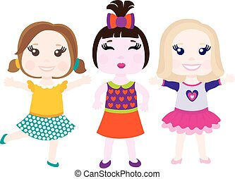 Vector illustration of three little smiling girls