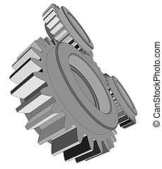 Vector illustration of three metal gears