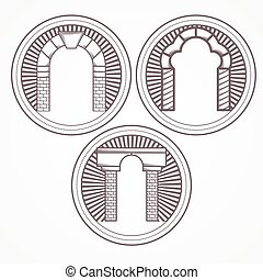 Design element with three gray brick arch different shapes. Vintage style round line vector icon for some architecture business on white background.