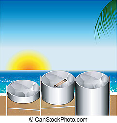 Vector Illustration of three variations of Steel Pan Drums on the beach invented in Trinidad and Tobago.