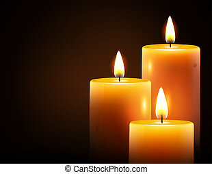 yellow candles - Vector illustration of three yellow candles...